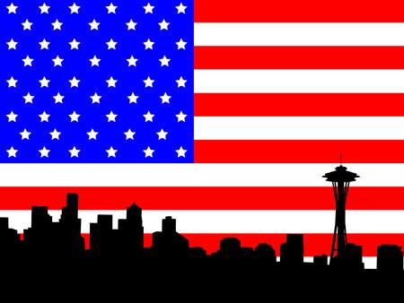 space needle: Seattle skyline and American Flag illustration Illustration
