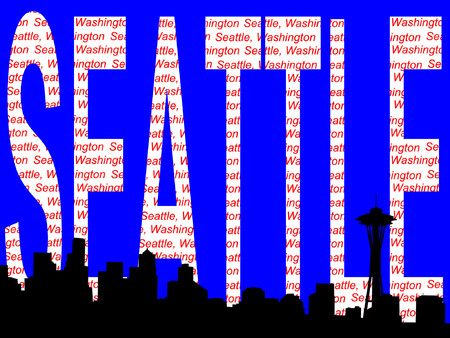 Seattle skyline and text illustration Vector
