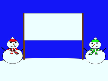 snowmen with blank sign Stock Vector - 663458