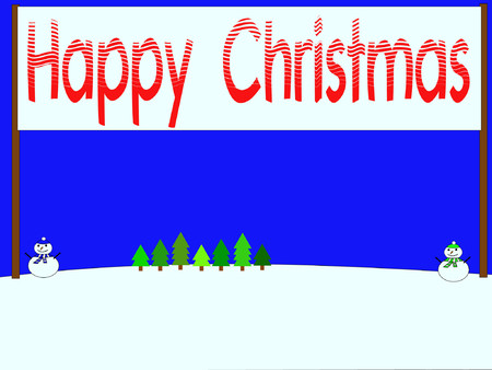 iciness: snowmen with Happy Christmas banner Illustration