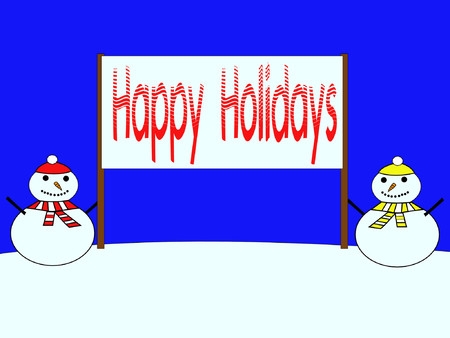 coldness: snowmen with Happy Holidays banner Illustration