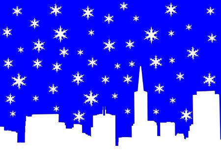 iciness: San Francisco skyline in winter