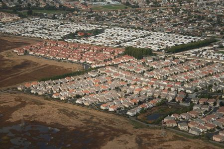 californian: Californian surburb aerial view of rows of houses