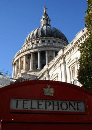 St Pauls Cathedral, London and red telephone box photo