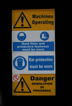 Demolition site sign with protective equipment symbols Stock Photo - 665467