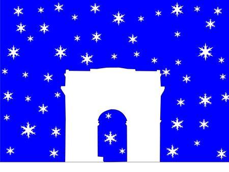 Arc de Triomphe with snowflakes Stock Photo - 668302