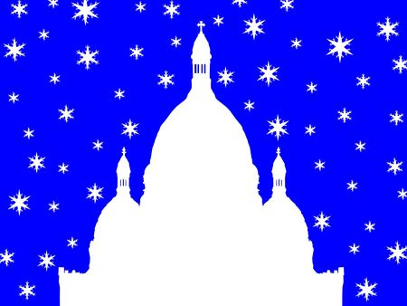 coeur: Sacre Coeur Basilica Montmartre in winter illustration with snowflakes Stock Photo