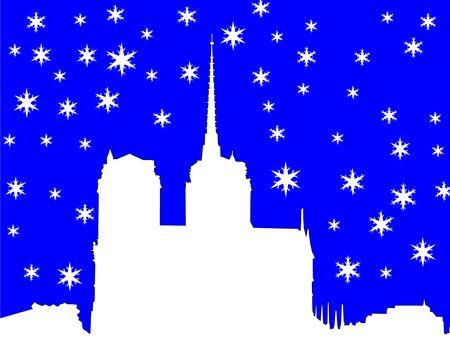 notre: Notre Dame in winter illustration