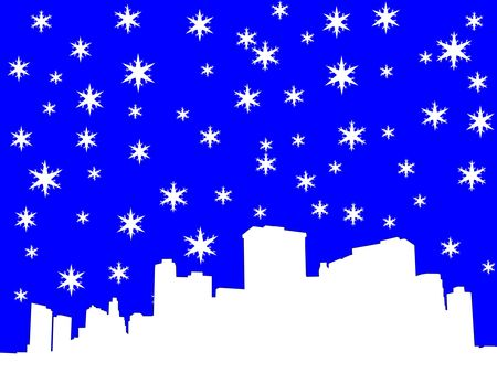 iciness: lower manhattan New York City skyline in winter illustration with snowflakes Stock Photo