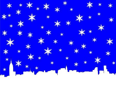 iciness: Midtown manhattan New York City skyline in winter illustration with snowflakes