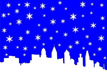 Philadelphia skyline in winter illustration with snowflakes Stock Illustration - 665393