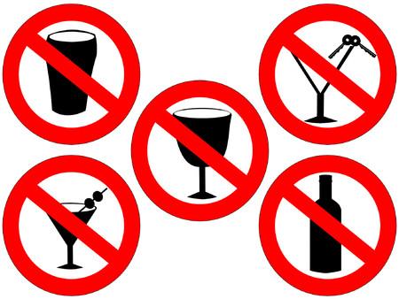 prohibido: ning�n alcohol y bebida que conducen muestras prohibidas Vectores