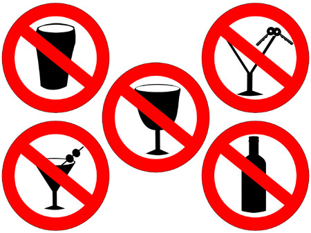 banned: no alcohol and drink driving forbidden signs