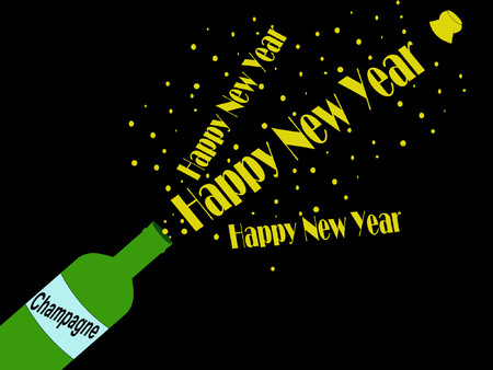 popping cork: Happy New Year champagne cork popping illustration