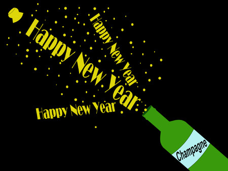 busting: Happy New Year champagne cork popping illustration