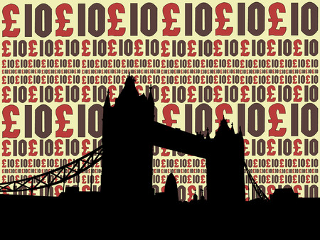 gherkin building: Tower Bridge London against ten pound