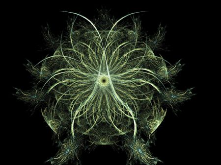 green abstract fractal lifeform rendered illustration Stock Illustration - 687507