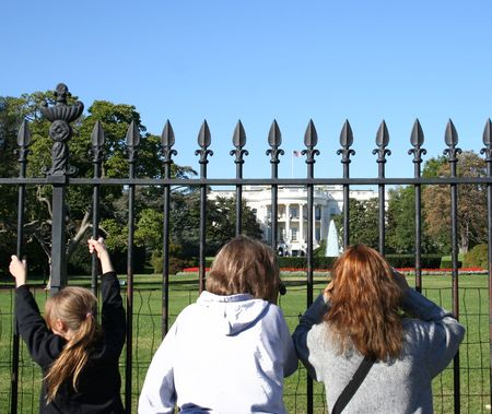 sightseers: Tourists looking at the White House Washington DC USA