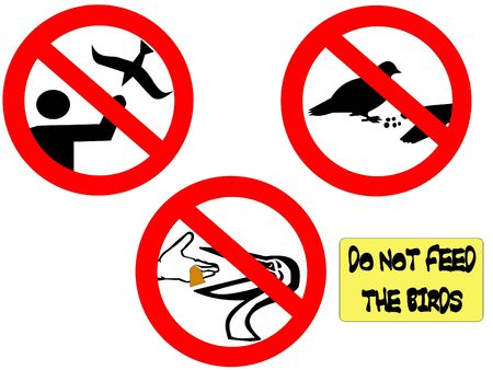 do not feed the birds signs with silhouettes of different birds