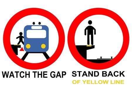 warning signs: train warning signs danger watch the gap Stock Photo