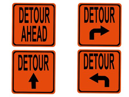 detour: Detour signs with arrows pointing in different directions Stock Photo