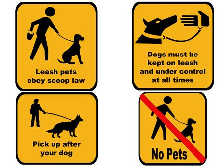 dog leash: Clean up after and control your dog sign Stock Photo