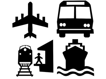 air liner: transportation silhouettes plane train bus and boat