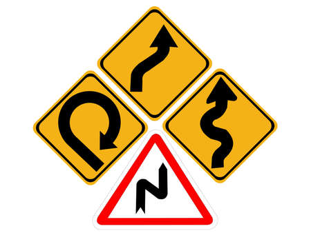 lanes: winding roads change lanes very sharp bend signs Stock Photo