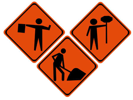 control tools: Road repair signs with silhouettes of construction workers Stock Photo