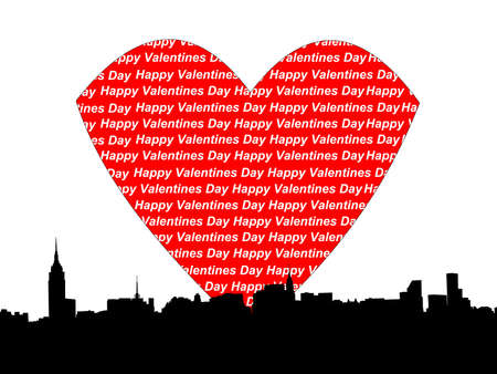 Midtown manhattan Happy valentines day illustration illustration