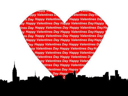 chrysler: Midtown manhattan Happy valentines day illustration