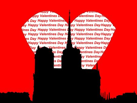 notre: Notre Dame Paris Happy valentines day illustration