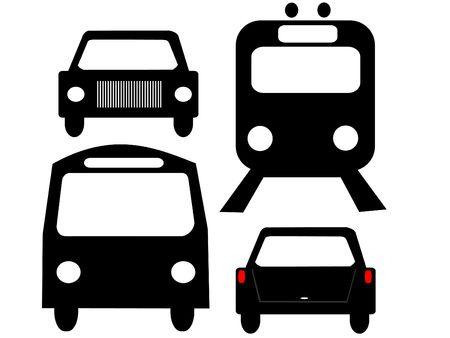 Siluetas de vehículos frente opiniones de autobús y tren coche  Foto de archivo - 687605