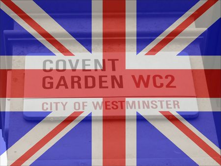 covent: Covent Garden sign with British flag