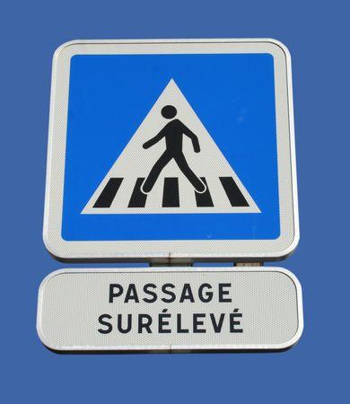 French pedestrian crossing road sign Banco de Imagens