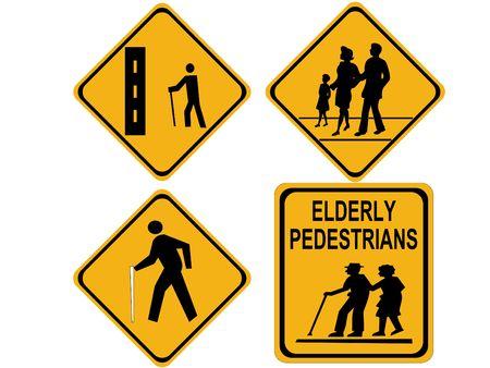 beware people crossing blind elderly hiker