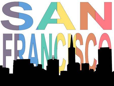 San Francisco skyline against rainbow San Francisco illustration illustration