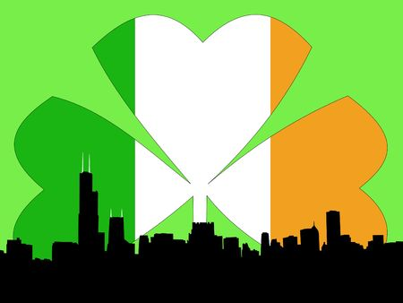 irish cities: Chicago Skyline Happy St Patricks day illustration