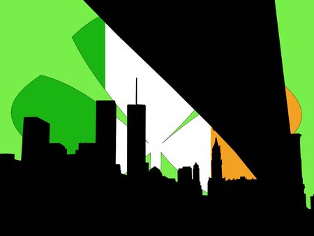 irish cities: Lower manhattan Happy St Patricks day illustration