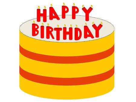 gateau: torta di compleanno con lillustrazione delle candele