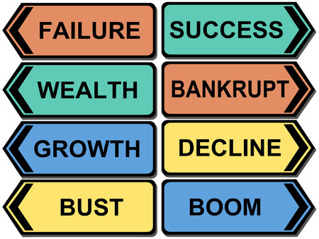 fiasco: Colorful signs with financial outcomes