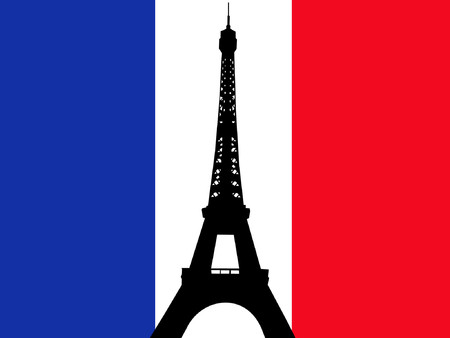 Eiffel tower against French flag illustration