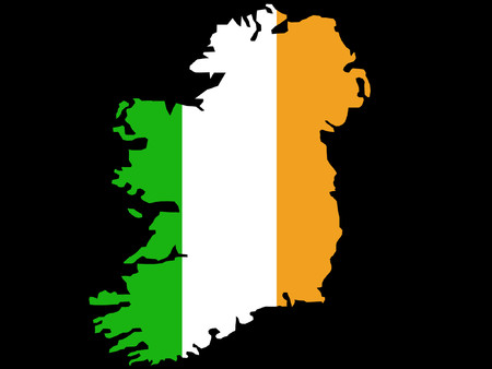 Republic of Ireland map and flag illustration Vector