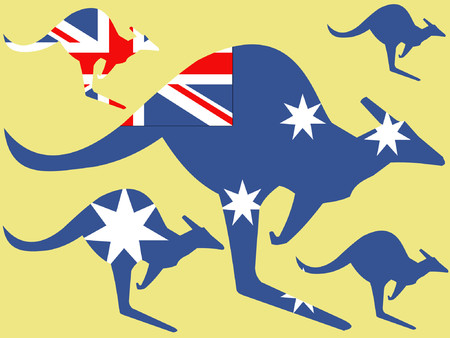 australische flagge: K�nguru und australische Flagge illustration Illustration