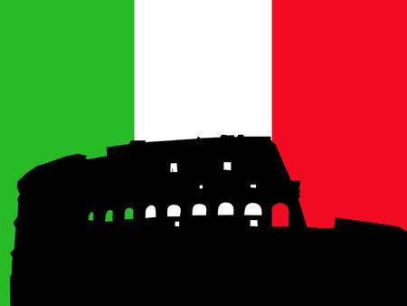 colloseum: Colloseum Rome italian flag illustration