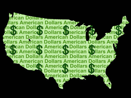 greenbacks: map of USA and dollar currency illustration