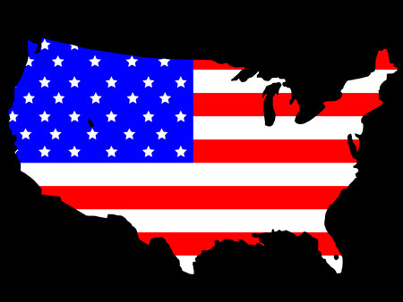map of USA and flag illustration