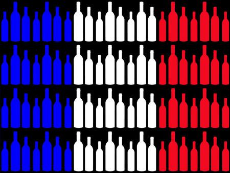 french wine: Wine bottles and French flag Illustration