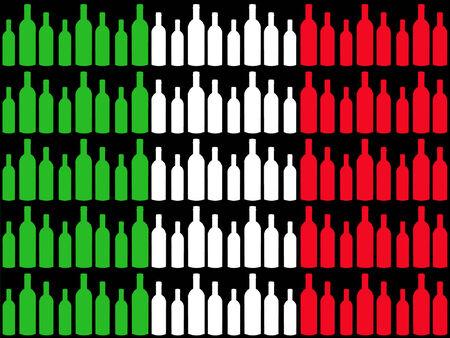 italian flag: Bottiglie di vino e la bandiera italiana Vettoriali