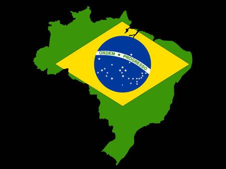 map of Brazil and Brazilian flag illustration